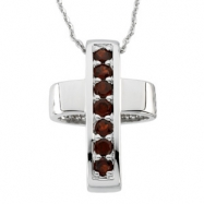 Sterling Streling Silver Healing Cross Pend With Garnet And Ster Chain