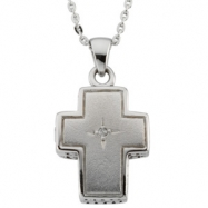 Sterling Streling Silver Prayer Locket With Diamond And Ster Chain