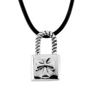 Sterling Silver The Covenant Lock (young Man) With Rubber Cord
