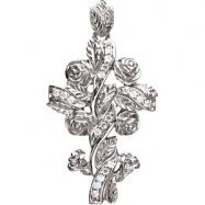 14K White Gold Floral Style Diamond Cross Pendant