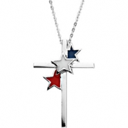 Sterling Silver United We Stand Cross With Enamel