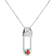 Sterling Silver January & Safe In My Love Pendant And Chain With Packaging