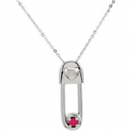 Sterling Silver July & Safe In My Love Pendant And Chain With Packaging
