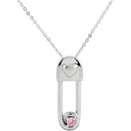 Sterling Silver October & Safe In My Love Pendant And Chain With Packaging
