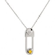 Sterling Silver November & Safe In My Love Pendant And Chain With Packaging