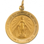 14K Yellow 20.50 MM Miraculous Medal