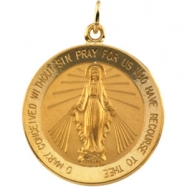 14K Yellow 22.00 MM Miraculous Medal
