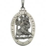 14K White Gold St. Christopher Medal