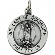 14K Yellow 25.00 MM Lady Of Guadalupe Medal
