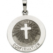 14K White 18.00 MM CONFIRMATION MEDAL W/CROSS Confirmation Medal W/cross