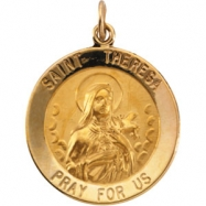 14K Yellow 22.00 MM St. Theresa Medal