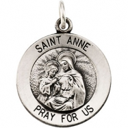 14K White 18.00 MM ST. ANNE MEDAL St. Anne Medal