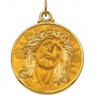 14K Yellow Gold Face Of Jesus (ecce Homo) Pendant