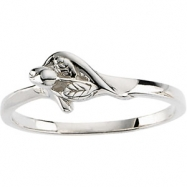 Sterling Silver Unblossomed Rose Chastity Ring With Box