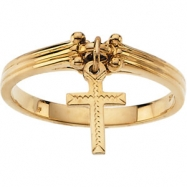 14K Yellow Gold Ring With Cross Attached