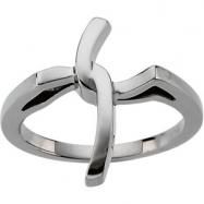 14K White Gold Religious Cross Ring