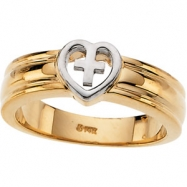 14K White Gold Heart With Cross Ring