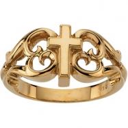 14K White Gold Cross Ring