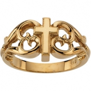 10K Yellow Gold Cross Ring