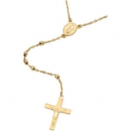 14K Yellow Gold 16.00 Inch Rosary Necklace
