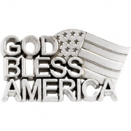 Sterling Silver God Bless America Lapel Pin