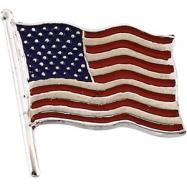 14K Yellow Gold Plain American Flag Lapel Pin