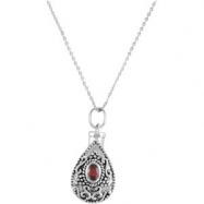 Sterling Silver January Birthstone Tear Ash Pdt With Chain Card & Box