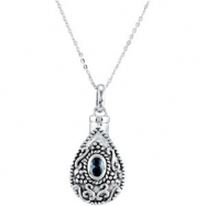 Sterling Silver March Birthstone Tear Ash Pdt With Chain Card & Box