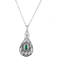 Sterling Silver May Birthstone Tear Ash Pdt With Chain Card & Box