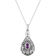 Sterling Silver June Birthstone Tear Ash Pdt With Chain Card & Box