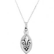 Sterling Silver Fleur De Lis Ash Pendant With Chain Card & Box
