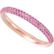 14K Rose Gold Pink Sapphire Anniversary Band