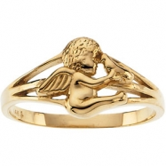 10K Yellow Gold Angel Ring With Holy Spirit