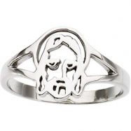 14K Yellow Gold Ladies Face Of Jesus Chastity Ring