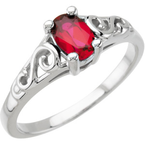 14K White Gold January Youth Imitation Birthstone Ring. Price: $303.58