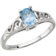 14K White Gold March Youth Imitation Birthstone Ring