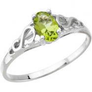 14K White Gold August Youth Mitation Birthstone Ring