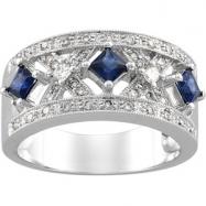 14K White Gold Anniversary Band Genuine Sapphire Diamond  Diamond quality A4 (SI1 clarity G-I color)