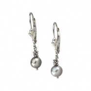 14K White Gold Pair 05.50- Lever Back Earring With Grey Pearl