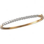 14K Yellow White Gold 2 Two Tone Diamond Bangle Bracelet  Diamond quality AA (I1 clarity G-I color)