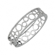 14K White Gold 6 Diamond Bangle Bracelet