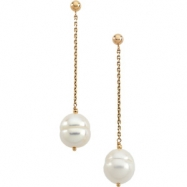 14K Yellow Gold Pair 09.00 - White Freshwater Cultured Circle Pearl Earring