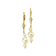 14K Yellow Gold Pair 3.0-3.5 And 5.5- Triple Pearl White Freshwater Earring