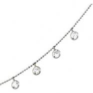 14K White Gold 16.00 Inch Cz Necklace
