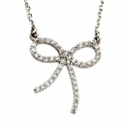 14K White Gold Diamond Bow Necklace