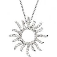 14K White Gold Diamond Sunburst Necklace