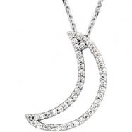 14K White Gold Diamond Crescent Moon Necklace