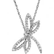 14K White Gold Diamond Dragonfly Necklace