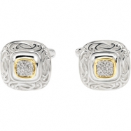 Sterling Silver & 14k Yellow Gold Pair Diamond Cuff Links