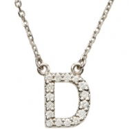 14K White Gold D Diamond Necklace